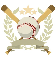 logo with a wreath and a baseball color vector image