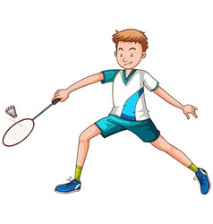 Man playing badminton with racket vector