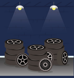 Mechanical workshop with car tyres wheels scene vector