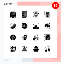 Modern set 16 solid glyphs and symbols such as vector