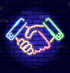 neon signboard handshake vector image