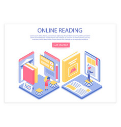 online reading landing page isometric vector image