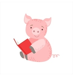Pig smiling bookworm zoo character wearing glasses vector