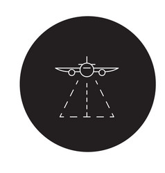 plane landing black concept icon plane vector image