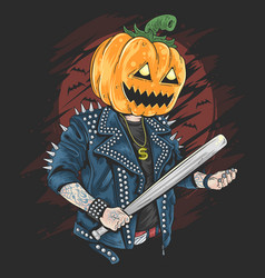 pumpkin head rocker halloween vector image
