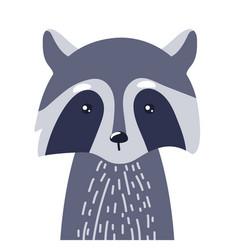 Raccoon cute animal baby face vector