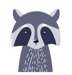 raccoon cute animal baface vector image