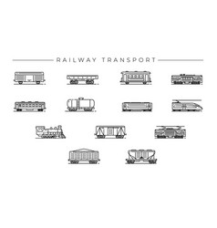 Railway transport concept line style icons vector