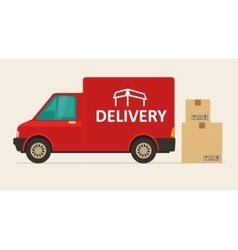 Red delivery van with shadow and cardboard boxes vector image