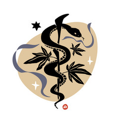 Rod asclepius with snake and hemp leaves vector