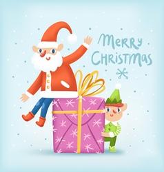Santa elf and a present Christmas greeting card vector image