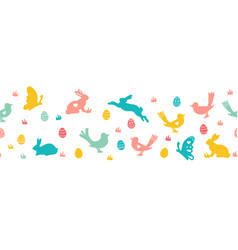 seamless easter border with bunnies vector image