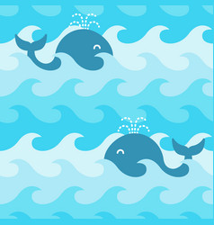 seamless pattern with whales on the waves vector image
