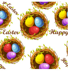 seamless textured pattern nests with eggs for vector image