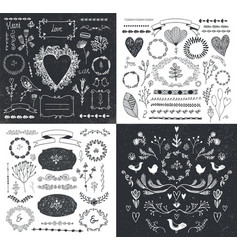set hand drawn doodle branches frames vector image