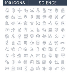 set line icons science vector image