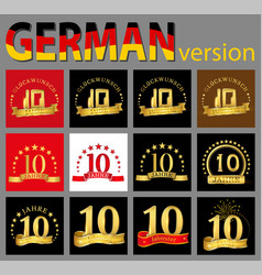 set of number ten 10 years celebration design vector image