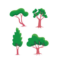 set of stylized trees forest and garden landscape vector image