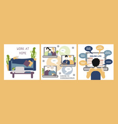 set stay at home concept internet communication vector image