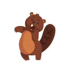 Shy little beaver with cute muzzle adorable vector