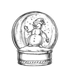 Snow globe with snowman souvenir vintage vector