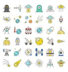 Space exploration icon set filled outline design vector