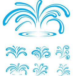 Splash sparkling blue water drops vector
