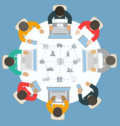 Teamwork for roundtable business strategy of vector
