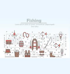 Thin line art fishing poster banner vector