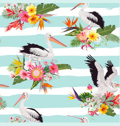 Tropical nature seamless pattern with pelicans vector
