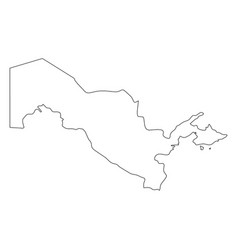 Uzbekistan - solid black outline border map of vector