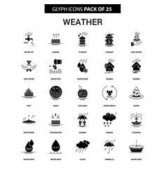 Weather glyph icon set vector