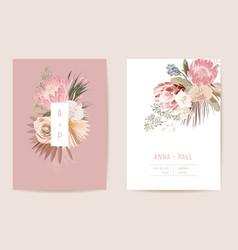 Wedding tropical floral invitation dry protea vector