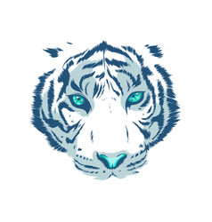 white tiger eyes mascot graphic in white vector image