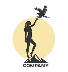 Woman with a falcon logo vector