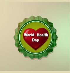 world health day logo with red heart shape icon vector image