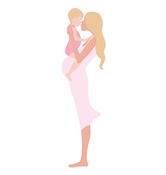 Young beautiful pregnant woman with the child vector