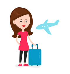 airplane young happy woman passenger vector image vector image