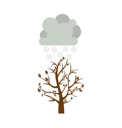 Colorful winter picture with fall tree with cloud vector