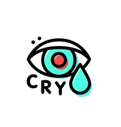 Crying hipster eye logo template in stroke vector