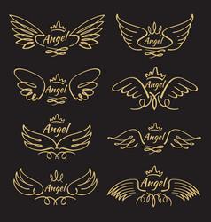 elegant angel golden flying wings on black vector image vector image