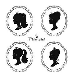 princesses profile set beautiful female vector image