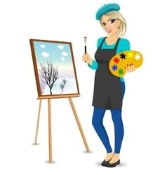 female painter artist holding palette and brush vector image