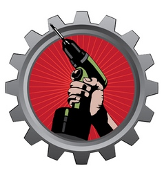 hand with drill in metal badge vector illustration vector image vector image