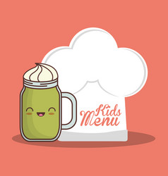 kids menu hat chef and glass cup vector image vector image