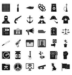 secret crime icons set simple style vector image vector image