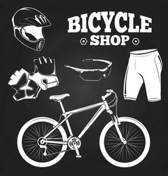 Bicycle shop on blackboard - helmet bicycle vector