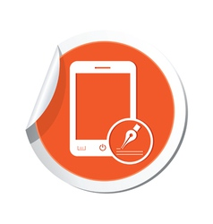 phone note icon orange sticker vector image vector image