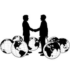 Business people agreement global handshake vector image vector image