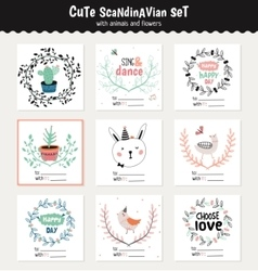 Cute scandinavian set of greeting cards vector image vector image